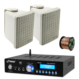 "Pyle PDA5BU Bluetooth USB Amplifier, Kicker 46KB6G 6.5"" Box Speakers and Wiring"