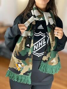 NHL Pittsburgh Penguins Adidas Camo Camouflage Knit Winter Scarf Adult