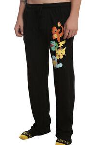 Pokemon Starter Generation 1 Black Mens' Lounge Sleep Pajama Pants Small