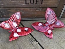 Butterfly Wall Hanging Decoration Art Glazed Pottery Pair Of