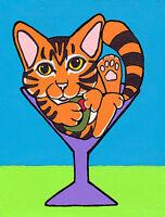 12x16 TUXEDO CAT MARTINI Art PRINT of Painting by VERN