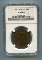 South Africa ZAR NGC Graded 1892 Kruger Penny VF 25 BN Coin