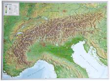 Vrai 3D Carte Du Relief Alpes Format Paysage 77x57cm #100552