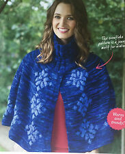 KNITTING PATTERN Ladies Snowflake Motif Poncho Cape High Collar Colinette MAKE