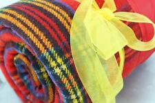 Faribo Wool Blanket Royal Red Stewart Tartan Vintage Fluff Loom
