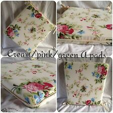 A shape seat pads cushions kitchen/dining room/pation/garden cream floral 15x15""