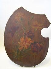 Inusual Eduardiano Pintura Claveles Flores en paleta de Arte de Madera con Soporte