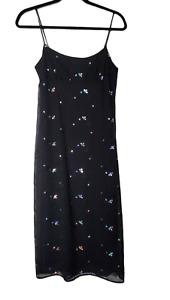 GUESS Jeans Womens slip dress Size Juniors 3 Black with multicolored sequins 90s