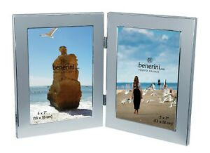 Double Photo Frame 5 x 7 Holds 2 Pictures Aluminium Silver Twin Portrait Frame