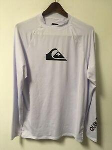 Quiksilver Men's L/S Rash Guard Shirt Size XXL 2XL White UPF 50+