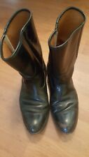 Vtg All Black Leather almond Toe Boots Men's 10.5 D western cowboy dress work
