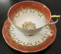 Vintage Orange~Gold Lace Floral Chintz Design Aynsley Footed Cup and Saucer Set
