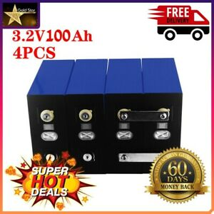 4pcs 3.2v 100Ah Lifepo4 Iron Phosphate Solar Cell Electric Car Battery Pack Lot