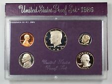 1986 Us Mint Proof Set 5 Gem Coins w/ Box & Coa