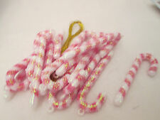 "Miniature 2"" Plastic Sparkle Candy Cane 18 Christmas Ornaments"