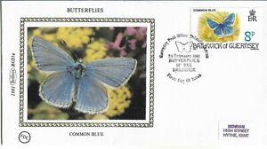 GB 1981 Guernsey Benham Silk Butterflies Common Blue FDC