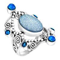 Sajen Natural Paraiba Druzy & Opal Quartz Scroll Ring in Sterling Silver