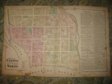 Antique 1874 Easton 1St 2Nd 4Th 5Th Ward Northampton County Pennsylvania Map Nr