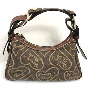 Dooney and Bourke Handbag Hobo Heart Logo Purse Coffee With Amber Leather