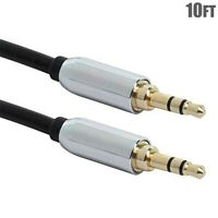 "10FT 1/8"" 3.5mm Male to Male Stereo Audio Cable Auxiliary Cord Headphone Gold"