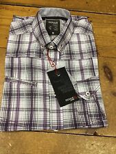 REMUS UOMO® Fashion Short Sleeve Check Shirt/Lilac - Small (OLD LOGO)