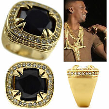 MENS HIP HOP YELLOW GOLD FINISH RAPPERS STYLE BLACK ONYX RING SIZE SIZE 7 to 13