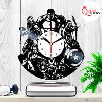 Marvel Avengers Ironman Tor Hulk Vinyl Record Wall Clock Birthday Gift Decor