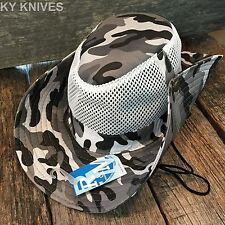 Australian Outback Safari Bucket Flap Boonie Hat w/MESH NEW HT-351 WHITE CAMO -F