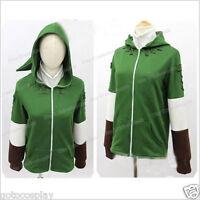The Legend of Zelda Link Zip Up Top Hoodie Green Hooded Sweater with Minish Cap