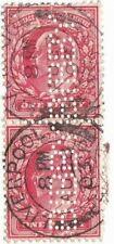 Perfin Pair Bibby (Bibby Shipping Co.) King Edward Vii Cancelled Scott 128