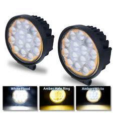 2X 5inch 84W Amber Halo Ring Round LED WORK LIGHT Flood OFFROAD DRIVING FOG LAMP