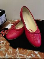 CHANEL RED QUILTED Cap Toe LEATHER BALLET FLATS CC LOGO w/Bow Accent RARE COLOR!
