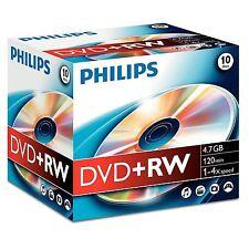 PHILIPS PAQUET DE 10 DVD+RW 120 MINUTES VIDEO 4,7 GO DONNÉES 4X VITESSE BOITIER