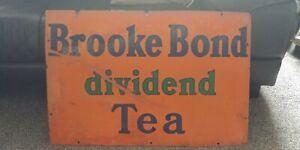 Original, Brooke Bond Dividend Tea ,Enamel Advertising Sign, Porcelain,30x20 ins