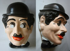 RARE VINTAGE 80'S CHARLIE CHAPLIN PLASTIC FACE HALOWEEN COSPLAY NEW NOS !