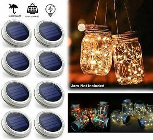 1-6x Mason Jar Lid Fairy String Solar Powered LED Lights Lamp Garden Party Decor