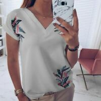 Blouse T-Shirt Casual Elegant Short Sleeve Pullover Top New Fashion Tops V Neck