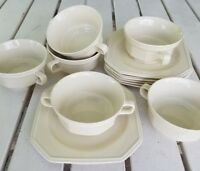 Six  Mikasa Ivory Continental Cream Soup Bowls  Saucers Tablesetting