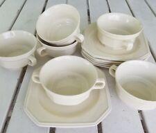 Six 12 Oz Mikasa Ivory Continental Cream Soup Bowls & Saucers Buttercup Majestic
