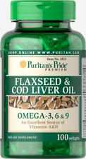 Puritan's Pride Flaxseed & Cod Liver Oil 1000 mg Omega 3, 6 & 9 - 100 Softgels