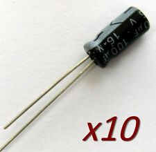 10x condensateur électrolytique 16V 100uF Radial Electrolytic Capacitor 11x5mm