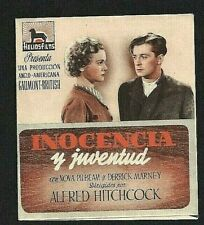 YOUNG AND INNOCENT (ALFRED HITCHCOCK) PROGRAMME ESPAGNOL D'ORIGINE