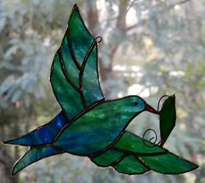 OPAL DOVE + OLIVE LEAF Authentic Stained Glass Suncatcher PEACE SPIRITUAL GIFT