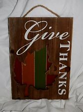 GIVE THANKS THANKSGIVING HARVEST FALL HANGING PICTURE DECORATION WOODEN RUSTIC