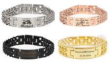 ID Edelstahl Armband mit Gravur nach Wunsch Doppelpanzerarmband massiv, 4 Farben