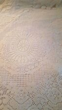"""Quaker style off white floral polyester tablecloth 53"""" x 68"""" vtg"""