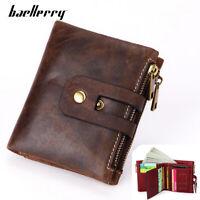 Men Women Genuine Leather Bifold Wallet RFID Credit Card ID Holder Zipper Purse