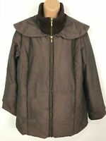 WOMENS MARKS & SPENCER BROWN ZIP UP COAT JACKET KNITTED COLLAR SIZE UK 14