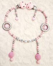 """Kinderwagenkette mit Namen Babytraum Rosa """"Prenses"""" für Mädchen"""