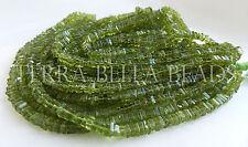 "8"" half strand deep green PERIDOT gem stone square heishi cube beads 4mm"